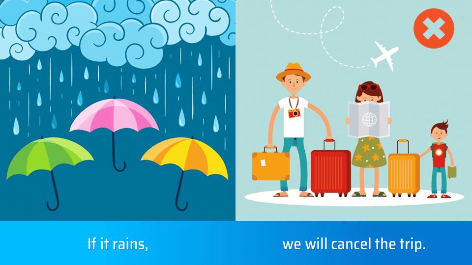 Nếu trời mưa, chúng tôi sẽ hủy chuyến đi chơi