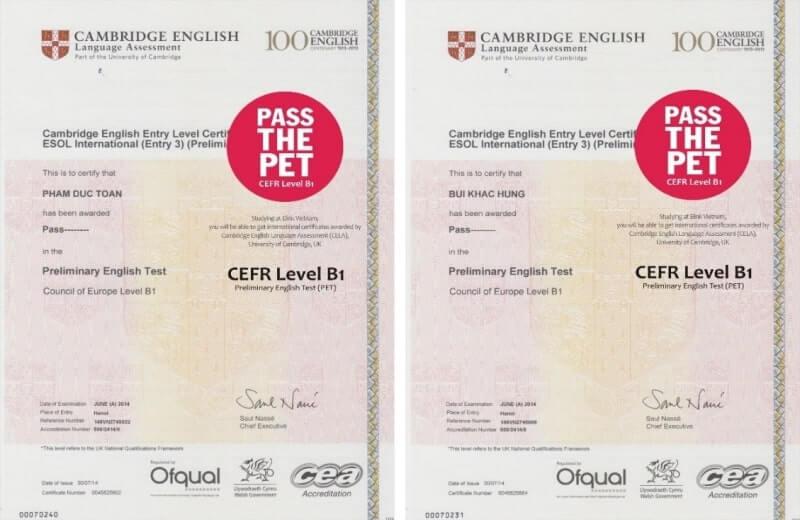 Các chứng chỉ tiếng Anh của Cambridge 3