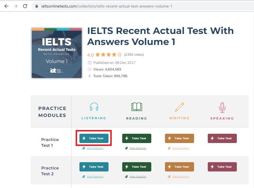 Thực hiện bài test trên IELTS Online Test