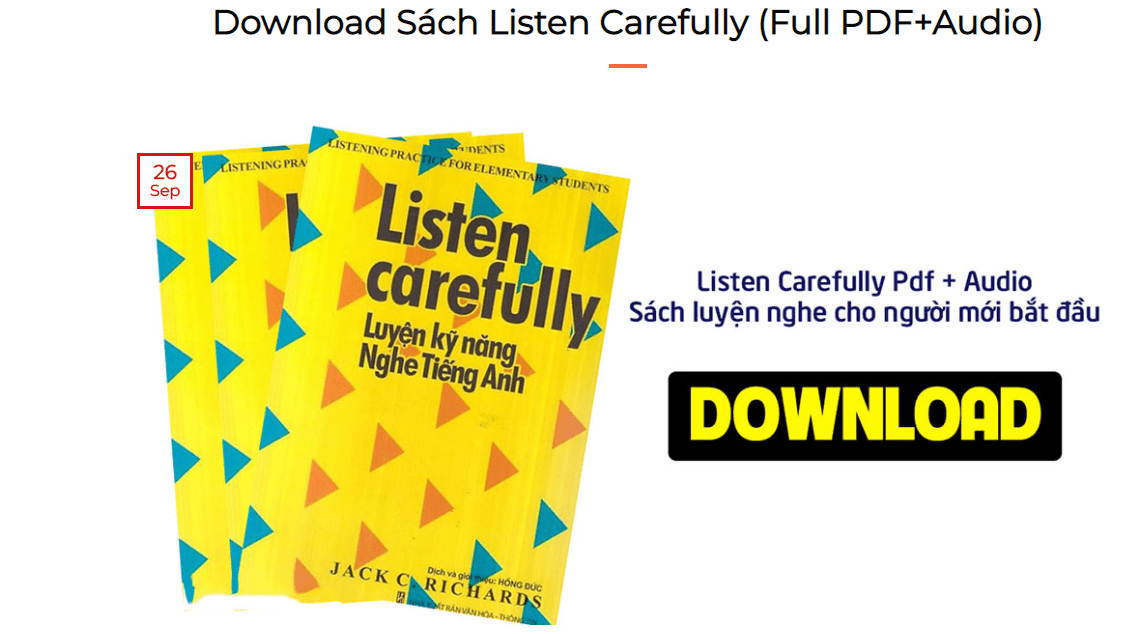 Tải trọn bộ Listen Carefully Ebook [Audio+PDF] Download miễn phí