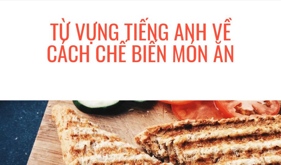 Từ vựng tiếng Anh về chủ đề nấu ăn