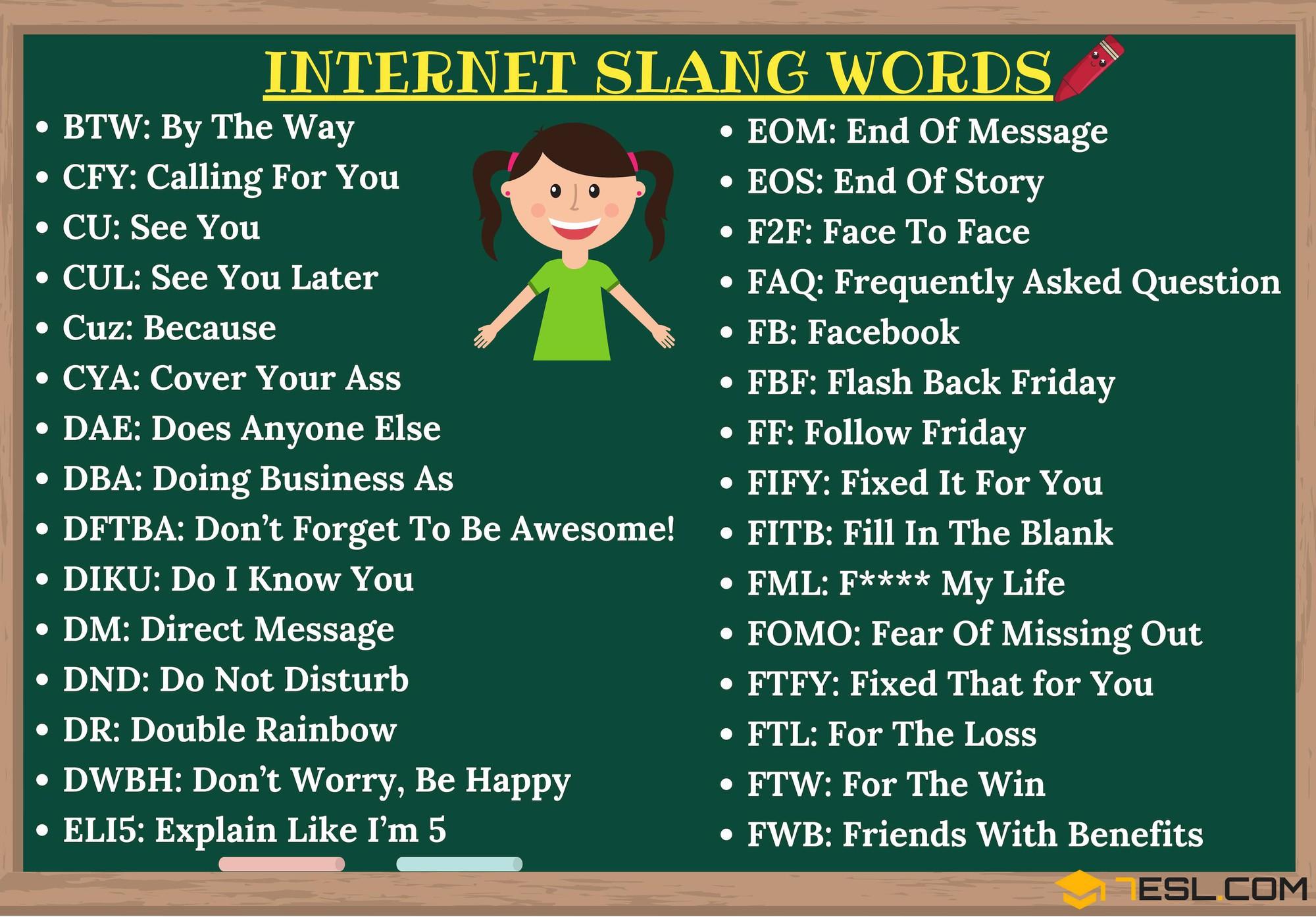 Những từ viết tắt trên mạng xã hội