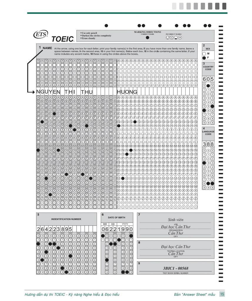 Mẫu answer sheet