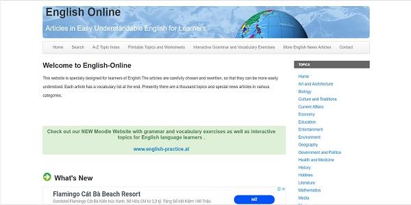 English Online - Website cung cấp các bài báo chi tiết