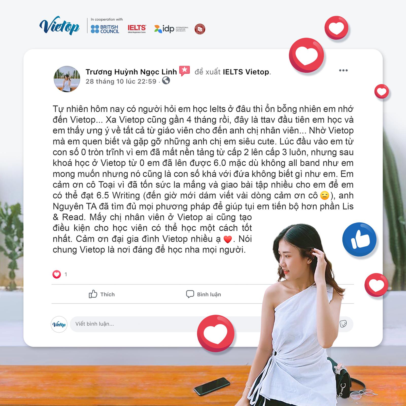 Review đánh giá trên Facebook từ học viên về trung tâm luyện thi IELTS Vietop