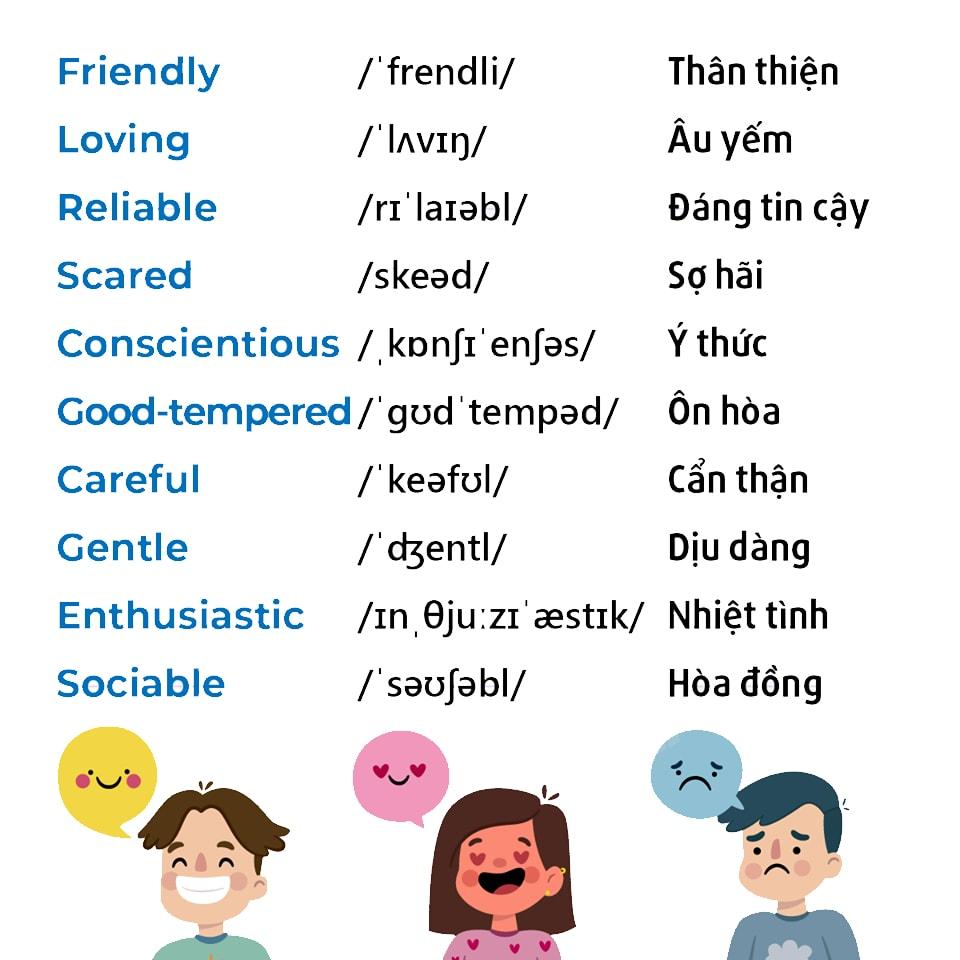Từ vựng tiếng Anh về đặc điểm tính cách con người